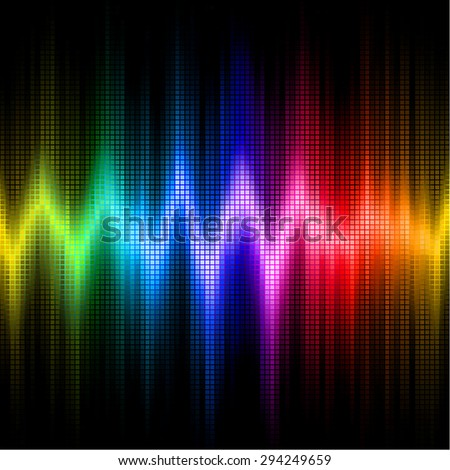 A rainbow-colored sound wave set against a black background