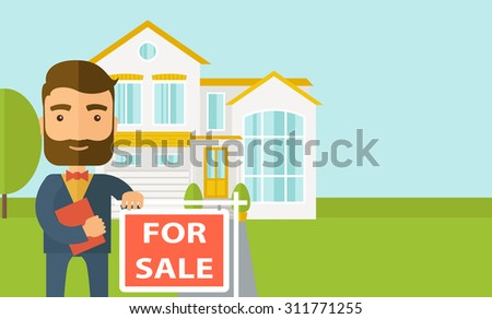 A real estate agent holding the document for the for sale house. Vector flat design illustration. Horizontal layout with text space in right side. - stock vector