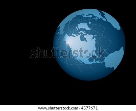 A realistic blue globe of earth set against a black background