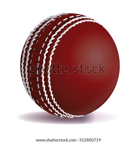 A realistic cricket ball illustration isolated on a white background. Vector EPS 10 available. EPS file contains transparencies and gradient mesh.