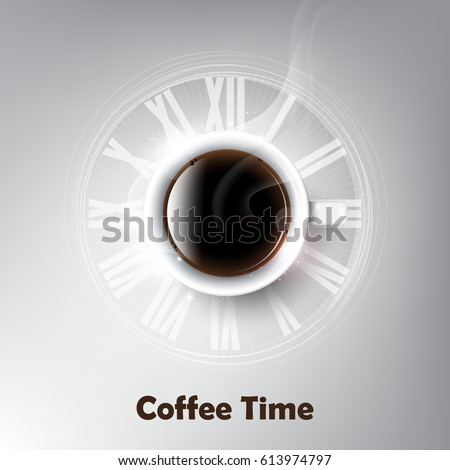 realistic cup black coffee coffee cup stock vector 613974797