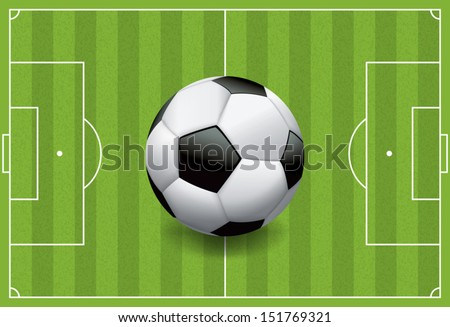 A realistic football / soccer ball on a textured grass playing field. Vector EPS 10. File contains transparencies and gradient mesh. - stock vector