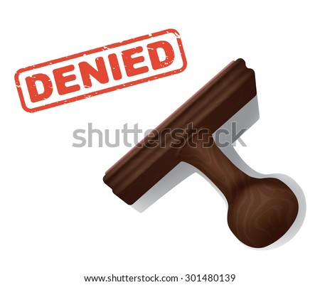 """A realistic vector illustration of the word """"DENIED"""" stamped in red by a rubber stamp with a wooden handle. - stock vector"""