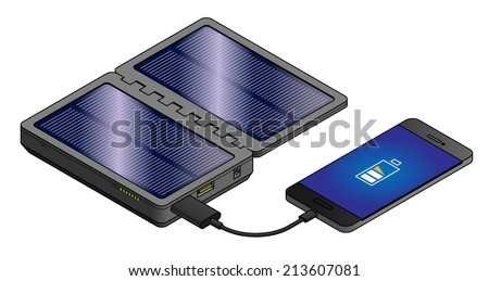 A rechargeable mobile power pack with fold-open solar panels. Connected to and charging a mobile/cellular phone. - stock vector
