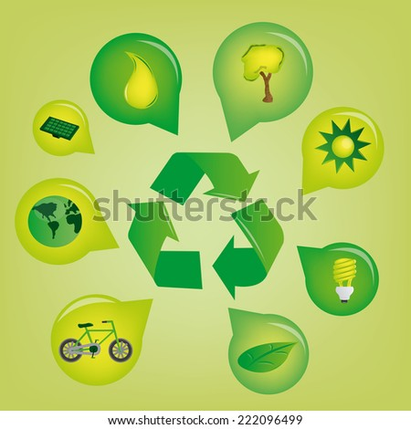 a recycle icon with a group of icons on a green background