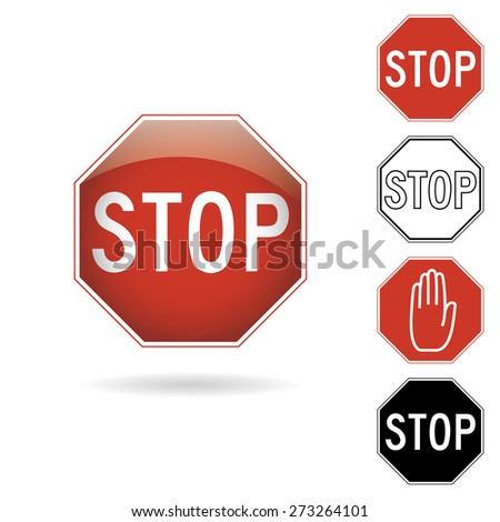 A red and black stop signs on a white background - stock vector