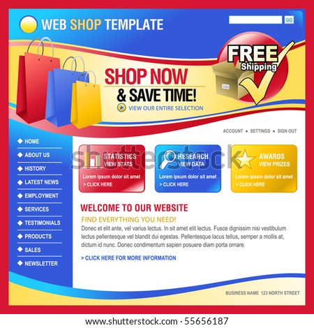 A red, blue and yellow internet website store template for your business - stock vector