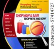 A red, blue, yellow and black internet website store template for your business. There are shopping bags in the header with a magnifying glass. - stock photo