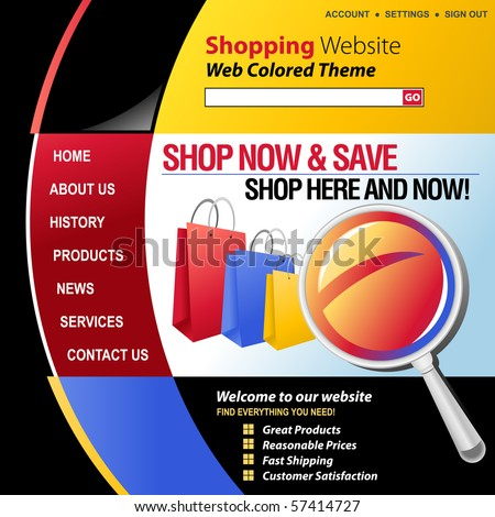A red, blue, yellow and black internet website store template for your business. There are shopping bags in the header with a magnifying glass. - stock vector