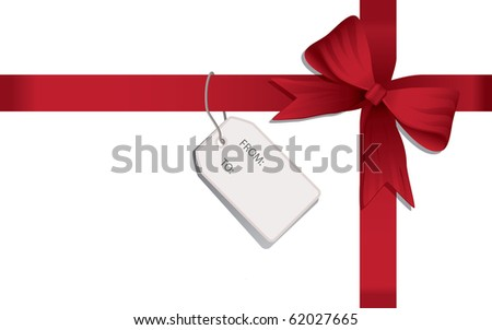 A red bow and ribbon on a white background. Great for Christmas and birthdays.