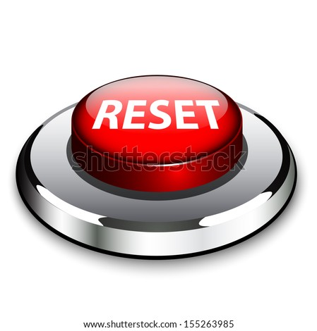 A red button with the word Reset on it  - stock vector