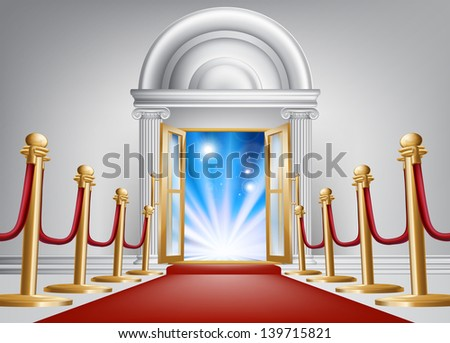 A red carpet entrance with velvet rope and imposing marble doorway leading into an exciting venue - stock vector