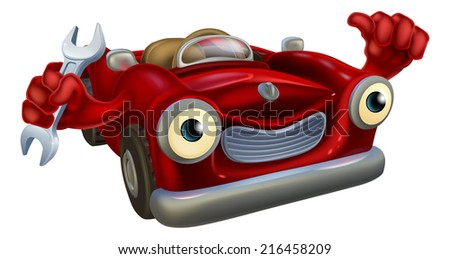 A red cartoon convertible car character wearing a cap and holding a spanner while giving a thumbs up. - stock vector