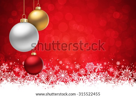 A Red Christmas background, with many multicolored christmas balls hanging from above. - stock vector