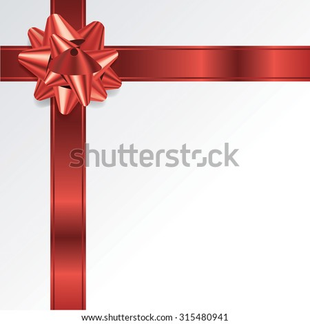 A red Christmas holiday bow and ribbon on a white background. Room for copy. Vector EPS 10. EPS file contains transparencies and a gradient mesh. - stock vector