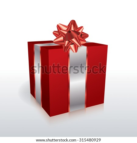 A red Christmas holiday present with a bow isolated on a white background illustration. Vector EPS 10. EPS file contains transparencies and gradient mesh.