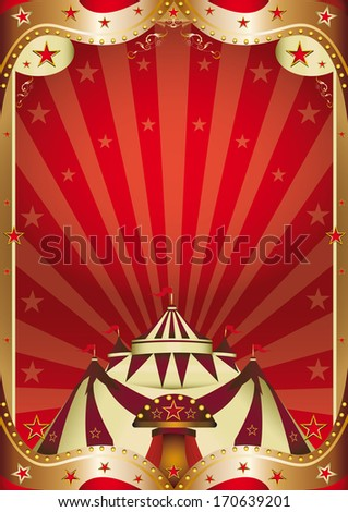 A red circus background with a big top