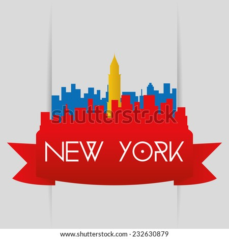 a red cityscape with a silhouette of the chrysler building - stock vector