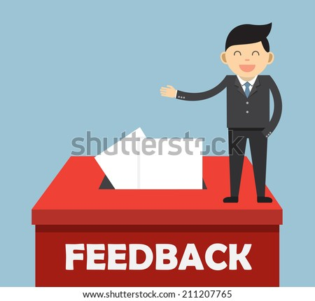A red Feedback box for collecting employee or customer ideas, thoughts, comments, reviews, ratings, suggestions or other communication or information  - stock vector