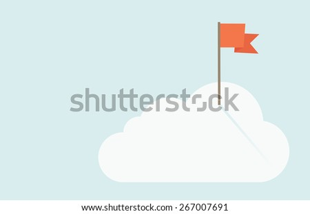 A red flag is on top of the cloud. A contemporary style with pastel palette soft blue tinted background with desaturated clouds. Vector flat design illustration. Horizontal layout. - stock vector