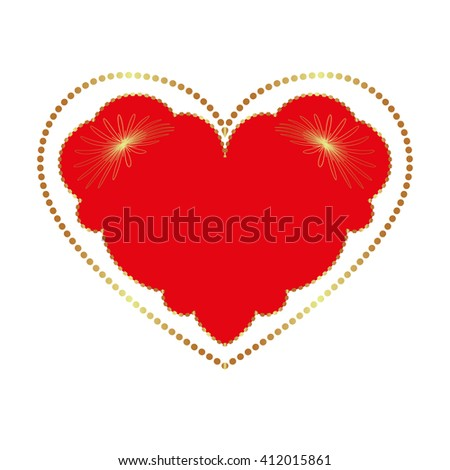 A red heart in golden edging and with golden reflected lights. Isolated on the white background. Vector illustration. - stock vector