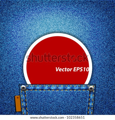 A red label in a jeans pocket - stock vector