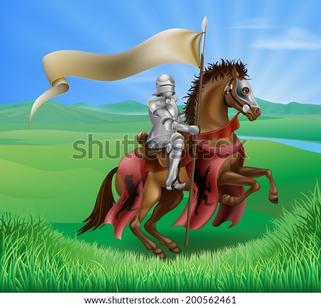 A red medieval knight in armor riding on horseback on a brown horse holding a flag or banner in green field of grass with lion insignia - stock vector