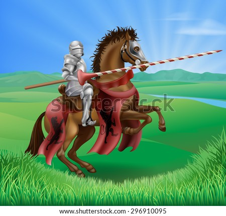 A red medieval knight in armor riding on horseback on a brown horse holding a jousting lance in green field of grass - stock vector