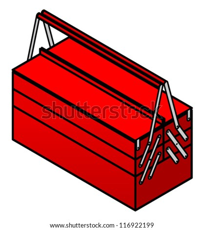 A red metal toolbox. - stock vector