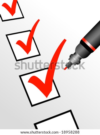 A red pen is checking off boxes which can represent a number of ideas and concepts. - stock vector