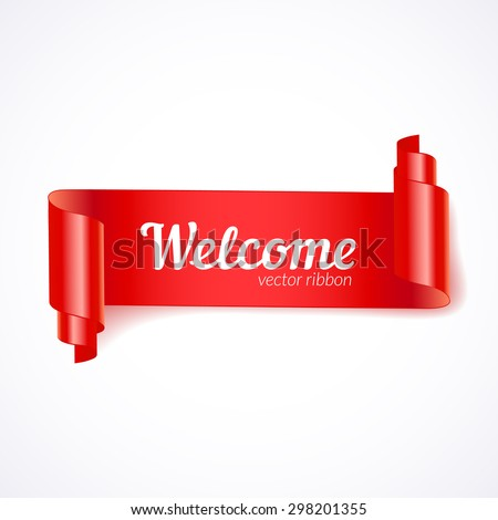 A red ribbon. Creative red ribbon on light background. Realistic Curling ribbon for a holiday. - stock vector