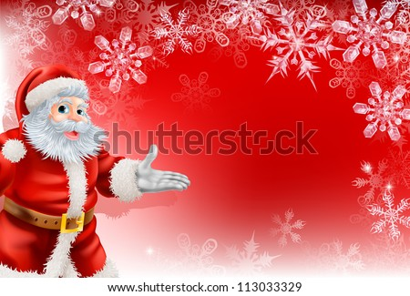 A red Santa Christmas snowflake background with very detailed illustration of Santa Clause and beautifully depicted transparent snowflakes. - stock vector