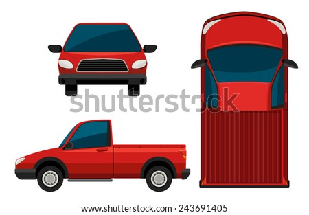 A red truck on a white background - stock vector