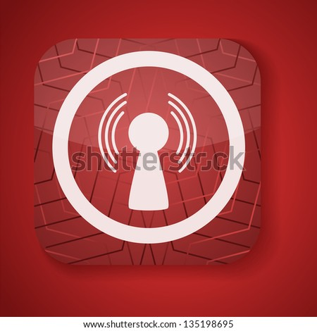 a red vector icon with antenna inside - stock vector