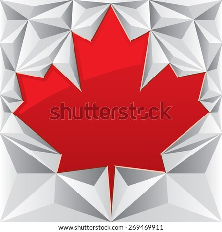 A red vector maple leaf is surrounded by a silver low poly background. - stock vector
