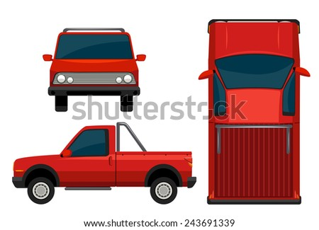 A red vehicle on a white background - stock vector