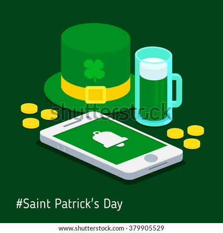 A reminder on the phone about the day of St. Patrick - stock vector