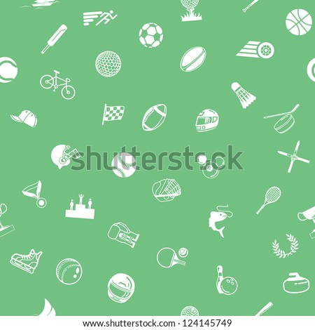 A repeating seamless sport background tile texture with lots of drawings of different sports icons - stock vector