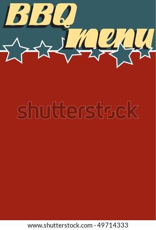A retro Americana style blank BBQ Menu page - stock vector
