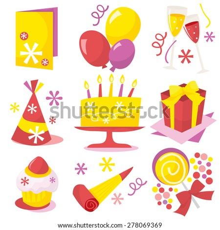 A retro birthday party icons vector illustration.