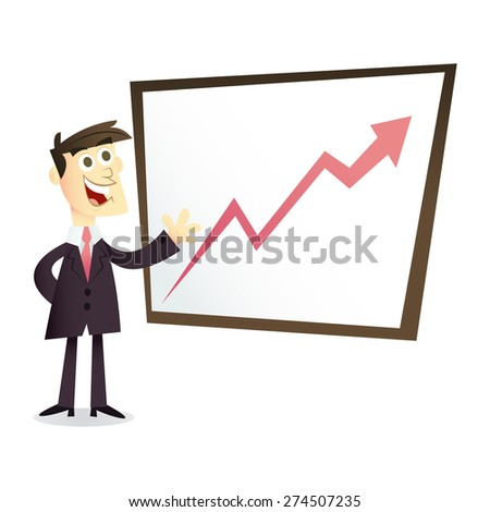 A retro cartoon illustration of a business man in suit showing off a profit/growth chart.
