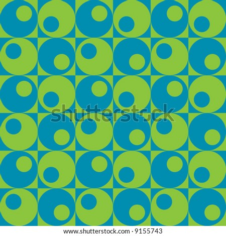A retro, repeating vector pattern of circles in squares in blue and green. - stock vector