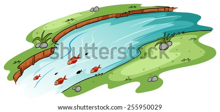 A river with a school of fish on a white background - stock vector