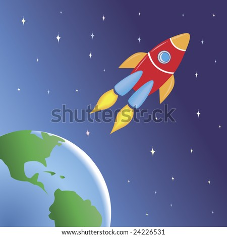 A rocket flying in space out of the Earth.