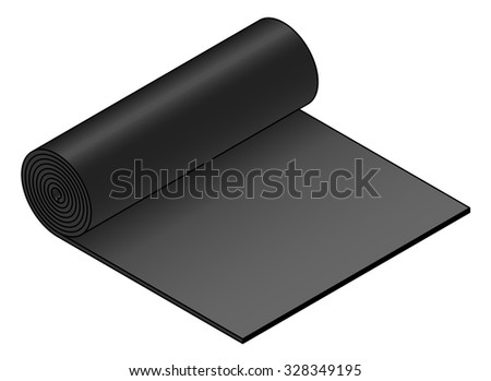 A roll of industrial material: black rubber sheet.