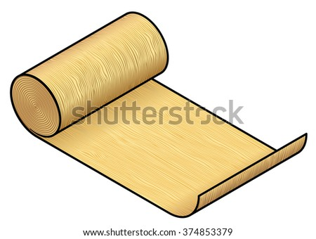 A roll of industrial material: wood veneer (yellow / pine). - stock vector