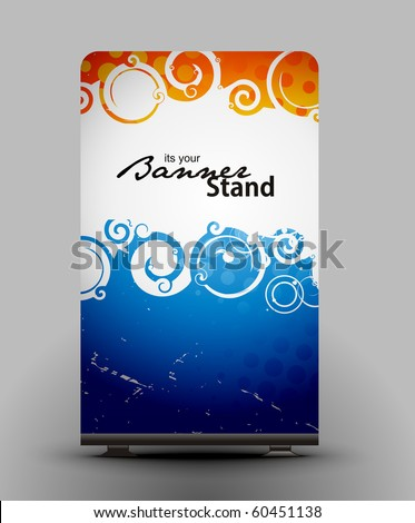 a rolup display with stand banner template design, vector illustration. - stock vector
