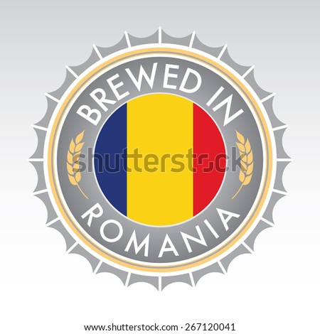 A Romanian beer cap crest in vector format. The bottle cap features the Romanian flag flanked by two golden wheat icons. - stock vector