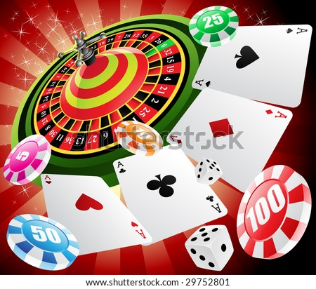a roulette table with various gambling and casino elements - stock vector