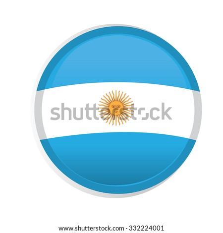 A round badge with the flag of argentina on a white background